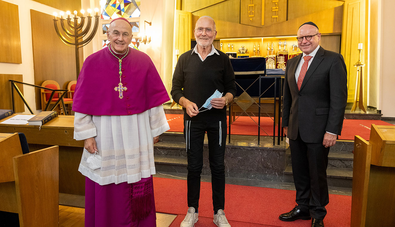 Bischof Felix Genn, Sharon Fehr und Markus Lewe: Von Antisemitismus nicht einschüchtern lassen